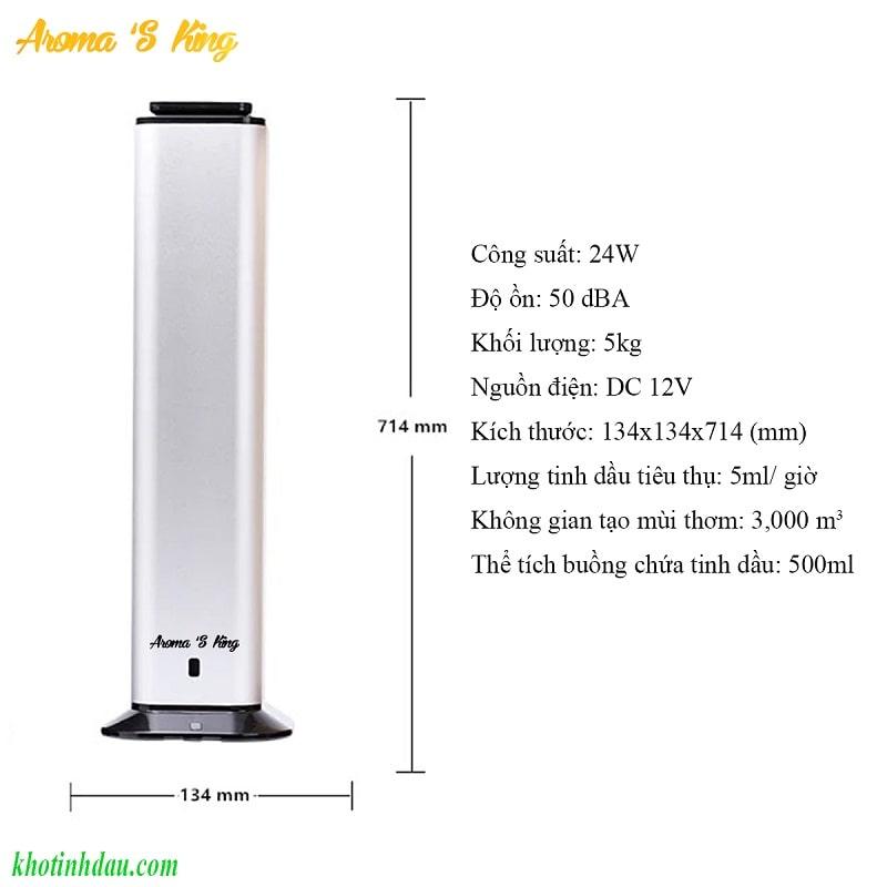 Thông số kỹ thuật máy khuếch tán tinh dầu công nghiệp aroma s king 102
