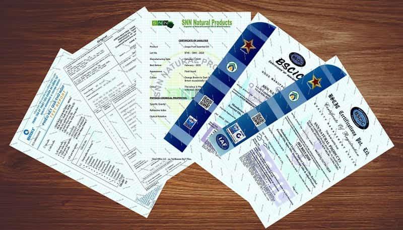 giấy tờ pháp lý tinh dầu